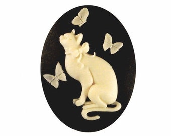 40x30 fairy kei Resin Cat Cameo Butterfly cabochon Black creme butterfly cameo 30x40 plastic stone diy cat jewelry supplies or ornament 910x