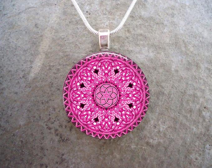 Celtic Jewelry - Glass Pendant Necklace - Celtic 32 Pink