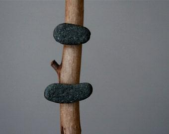 Men Stud Earrings - Black Beach Stone - Minimalist Zen Jewelry - Baltic Sea Pebbles