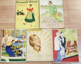 Lot of 5 1930's German Songbooks, Sheet Music for Piano