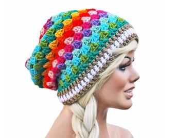 Crochet Slouch Rainbow Beanie Granny Stitch Beanie Hat