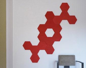 3D Wall Sculpture | Four Panel Wood Wall Art | Modern Geometric Sculpture | Custom Corporate Artwork | Abstract Painted Design | Relief Art