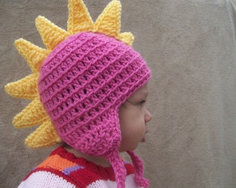 Dragon Hat in Bright Pink - Crochet Dinosaur Hat, Dino Hat for Girls, Spike Hat