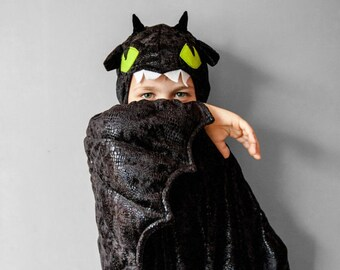 Toothless Costume, Black Dragon Children Costume, Party Costume or Halloween Kid Costume Wings, How to train your dragon