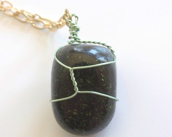 Mint Wrapped Green Goldstone Necklace