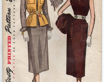 Dress With Small Pointed Collar And Sleeveless Jacket Size 14 Used Vintage Sewing Pattern Simplicity 3113