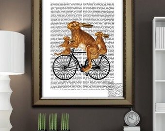 Rabbit Tandem Bike Art Print with Baby Rabbits Wall hanging dictionary Art Print