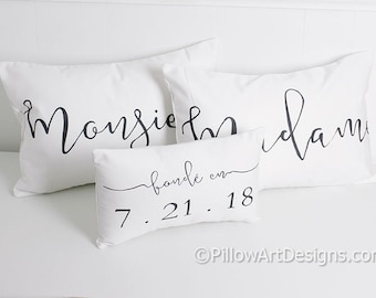 Couples Pillow Set French Madame Monsieur Mr Mrs His Hers Black White 12 X 18 Lumbar Pillow Covers  Fonde En Date Mini Pillow Made in Canada
