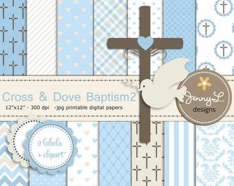 Boy Baptism Digital Papers, Cross Dove Clipart, First Communion, Holy Week Spirit Scrapbooking Paper, Christening, Boy Baptismal, Dedication