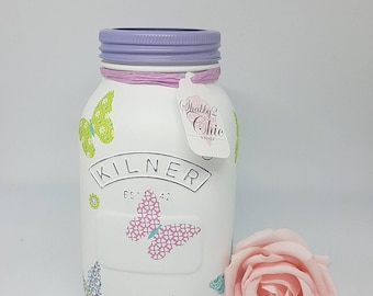 Hand Painted/Shabby Chic Butterfly design 1 ltr Kilner jar/Makeup Brush Holder Money Jar/Desk Tidy/Home Decor/Birthday Gift/Girls Room