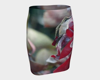 Hummingbird Flared Fitted Skirt A-Line Animal Print Garden Bird Clothes XS-S-M-L-XL Wearable Art/A-Line/Clothing/Women/Skirts/Clothes/Teen