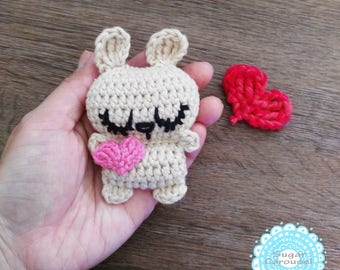 Mini bunny hugging tiny heart - white pink red purple rabbit i love you happy pocket cheer up be my valentine day engagement wedding gift