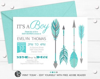 TRIBAL ARROW Baby Shower  Invitation, Instant Download ARROW Baby Shower Invitation, Mint Tribal Baby Shower, Teal Tribal Baby Shower