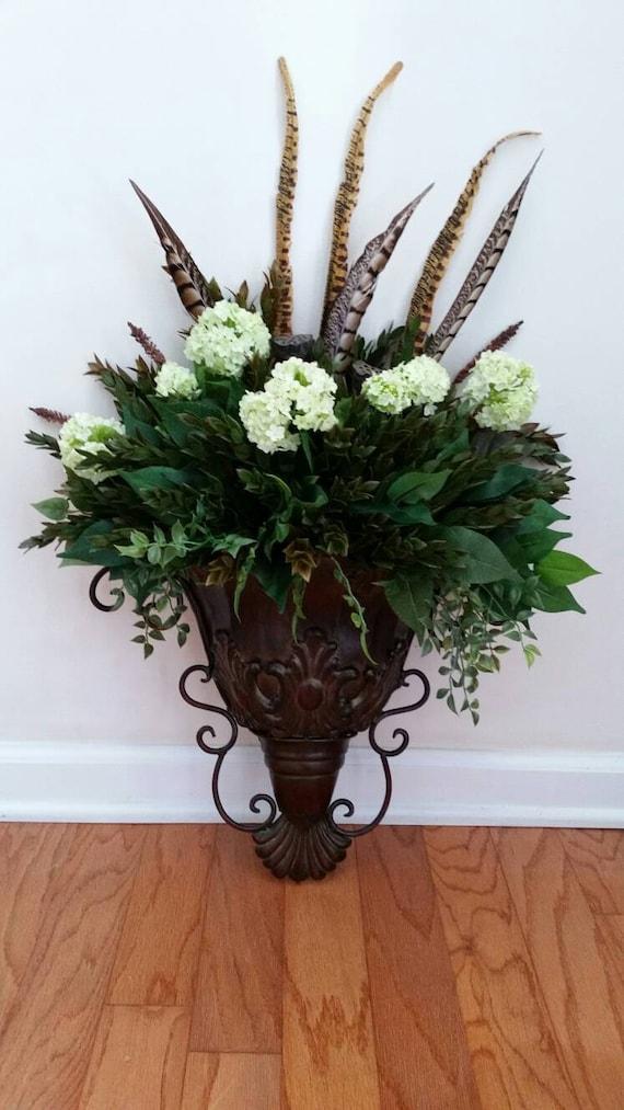 Wall Sconce Greenery Floral Arrangement Silk Flowers Ferns