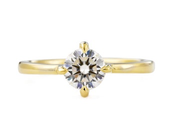 Moissanite Engagement Ring Ring, 14K Gold Engagement Ring, Compass Set Diamond Alternative Ring, Made to order in 3-4 weeks