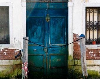 Venice Photography - Faded Blue Aqua Door in Venice, Italy Photograph - Italian Home Decor - Blue Door in Italy - Door Art - Italian Decor