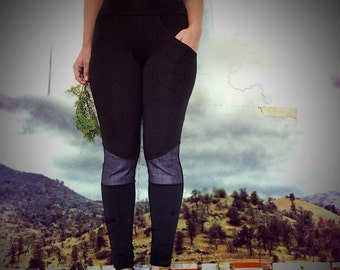 Pocket Leggings - Denim knee patch, eco friendly bamboo leggings. Built-in pocket jeggings. Plus size, any size. Workout and yoga leggings
