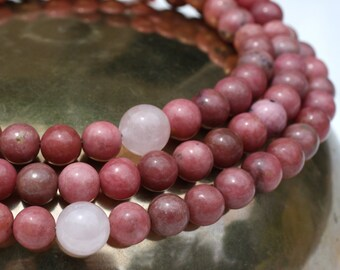 Rhodonite Mala Prayer Bead Necklace with Rose Quartz - Tibetan Buddhist Mala