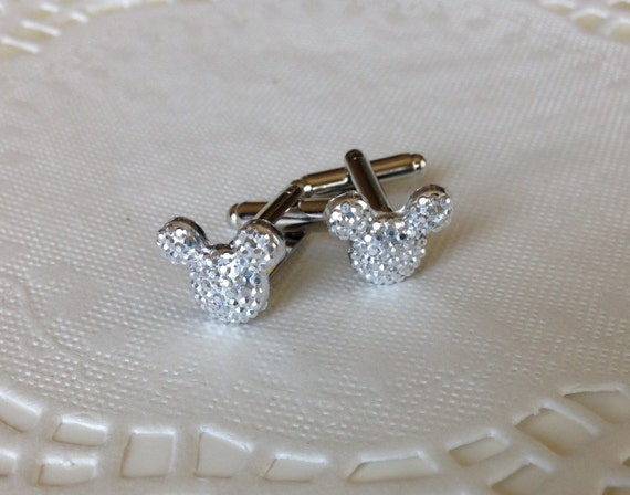 Mickey MOUSE Cuff Links-Disney Wedding Party-Silver Tone Acrylic-Groomsmen Gift-Free Gift Box
