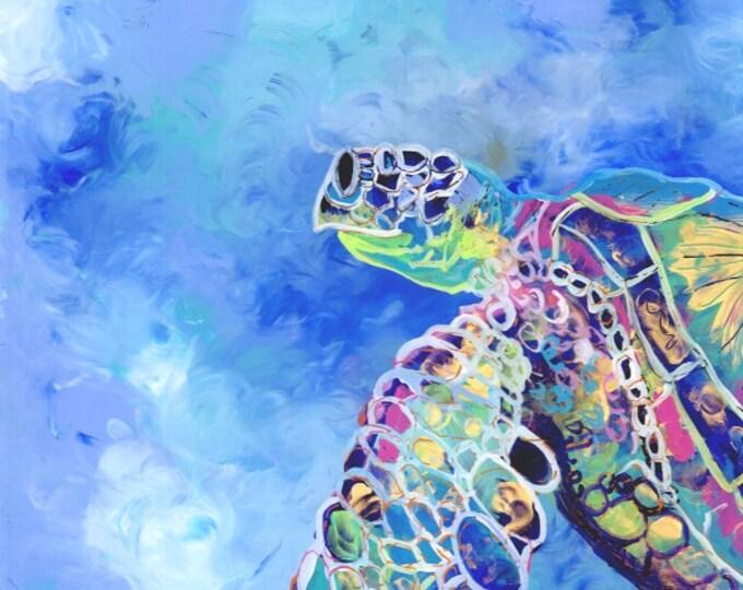 Sea Turtle Painting, Original Reverse Acrylic Art,  Hawaiian Honu, Whimsical Ocean Art, Hawaii Art, Green Sea Turtle, Kids Decor, Animal Art