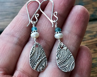Sterling Silver and PMC Teardrop Dangle Earrings with White Freshwater Pearls and Blue Quartz Beads