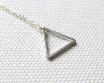 Simple Triangle Necklace Silver Dainty Geometric Jewelry Modern Minimal Sterling Silver or Rhodium Chain Triangle Jewelry