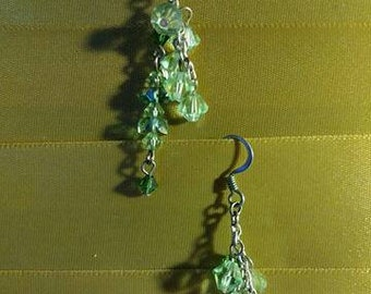 20s style earrings.  Mixed vintageables bits and pieces of vintage jewelry redesigned into unique wearable art.  Light mint air.