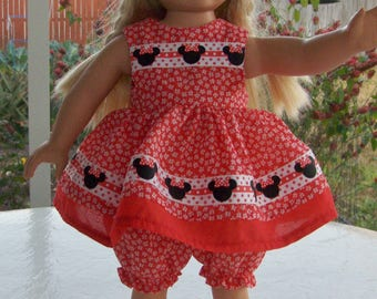 Cute Red Print Minnie Mouse Look  Dress, fits American Girl, Our Generation and similar  dolls