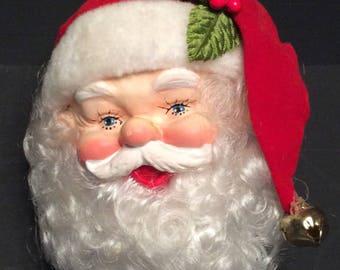 Santa head bottle topper or ornament