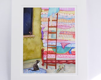 """PRINCESS & THE PEA """"Pea is for Princess"""" faerie tale feet limited edition artist print fairy tale art inspired by hans christian andersen"""