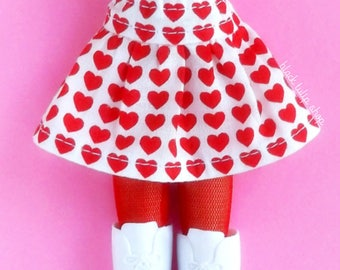 Doll Clothes Doll Skirt Clothes for Fashion Dolls Blythe Pullip Dolls Red Hearts Skirt for Dolls Kawaii Dolls