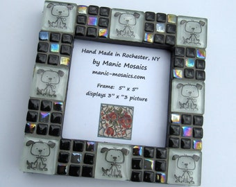 Mosaic Picture Frame-Black and White Mosaic Frame-dog themed-small frame-standing picture frame-mosaic mirror-framed mirror-tabletop frame