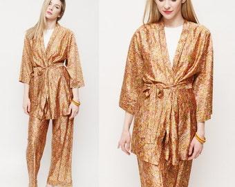 Vintage 70s Retro Disco  Kimono And Pants Set / Boho 70s Suit/ OP Art 70s 2 piece set