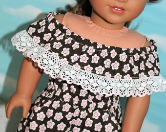 18 Inch Doll (like American Girl) Brown, Pink & White Flower Print Off-Shoulder Ruffled Romper with Lace Trim and Pockets