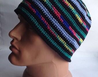 Hippy style Crochet bonnet chapeau bonnet grosse bonnet coloré d'été bonnet tricot chapeaux coton bonnet Kufi chapeau calotte chapeau d'yoga pour homme