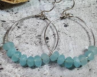 Sterling Silver hoops blue quartz #1043