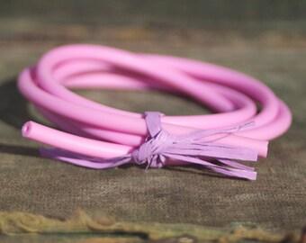 Hollow Rubber Tubing Pink 1 Yard