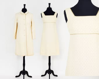 60s Creme Dress and Jacket Set | Dress & Long Jacket | Modell | Medium