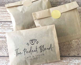 Wedding Coffee Favor Bag Kit - The Perfect Blend Set of 24  | Coffee Favor Bag | Tea Favor Bag | Personalized Wedding Favor Bag | TPB_CT