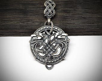 Celtic wolves pendant, Silver plated brass jewelry, Viking necklaces, Modern norse jewellery