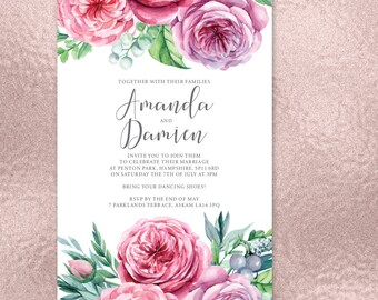 Gorgeously floral wedding invitations with English Country Garden design and matching accessories