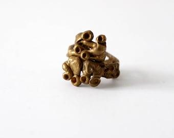 vintage brutalist bronze ring, 1970s jewelry