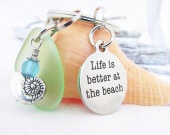 Seaglass Keychain, Beach Keychain, Sea Glass Keychain, Car Accessories, Beach Glass Keyring, Quote Keychain, Gift for Her, Beach Gift, KY15