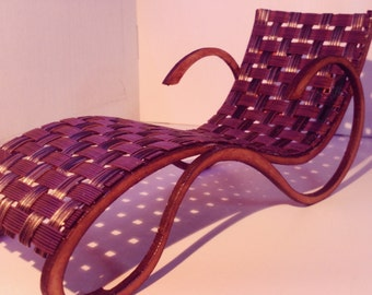 Art Nouveau style brown and black chaise longue, 1/12 miniature for dollhouses