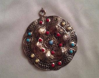Vintage Aztec Style Necklace Pendent Costume Jewelry