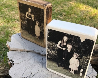 Bespoke Wooden Photo Blocks - Handcrafted personalised image for all occasions. Treasured keepsake High Quality Rustic Distressed Portrait