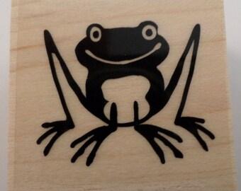 Inkadinkado Long Legged Frog Amphibian Smiling Wooden Rubber Stamp #96323