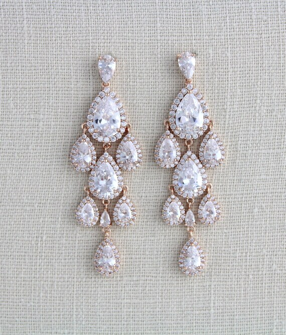 Gold Chandelier earrings Gold Bridal earrings Bridal