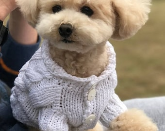 Dog Clothes - knitted dog sweater, cotton dog sweater, handmade dog clothes, bichon clothes, clothes for dogs