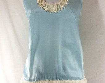 Womens Vintage Baby Blue Satin Sleeveless Blouse with Silk Ivory Fringe size S